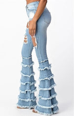Ruffle Me Down Light Wash Denim