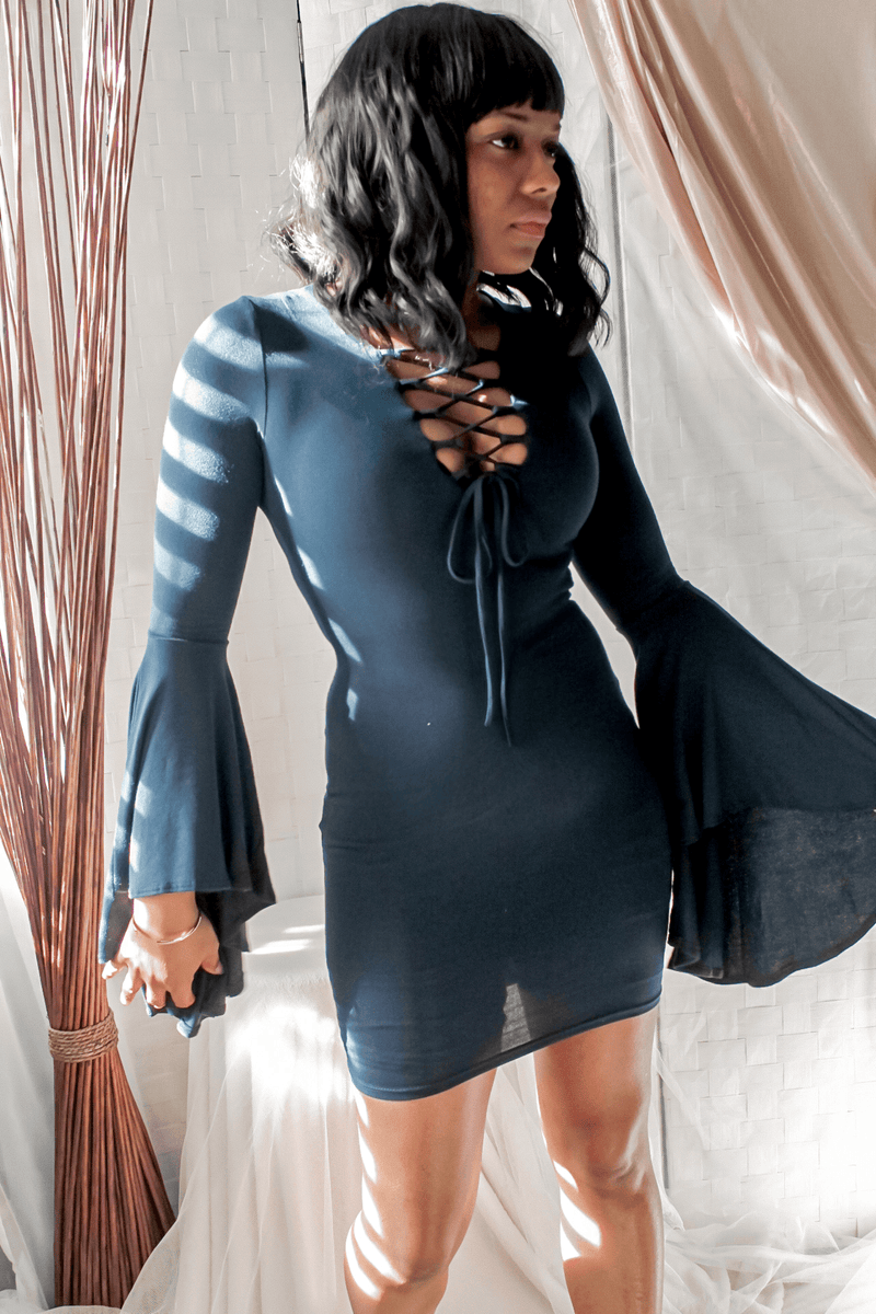 Head Turning Navy Blue Bell Sleeve Dress
