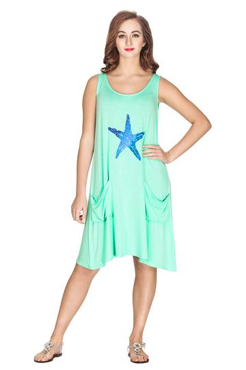 Viscose Knit Short Dress W/Starfish & Front Pockets