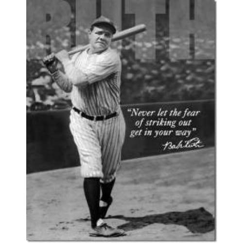 Babe Ruth No Fear Tin Sign Home & Decor $11.95
