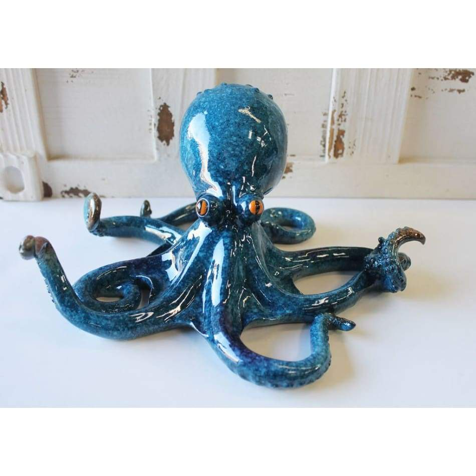 Blue Octopus Resin Figurine 6 Home & Decor $28.99