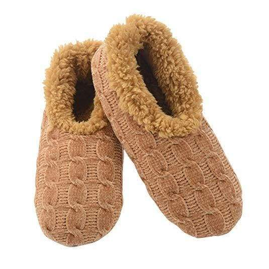 Chenille Solid Tan Snoozies Slippers Foot Covering For Womens Footwear $14.99