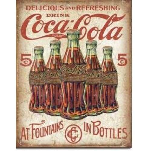 Coke 5 Bottle Retro Tin Sign Home & Decor $11.95