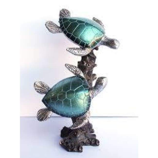 Double Pearl Turquoise Resin Sea Turtle 9 Home & Decor $59.99