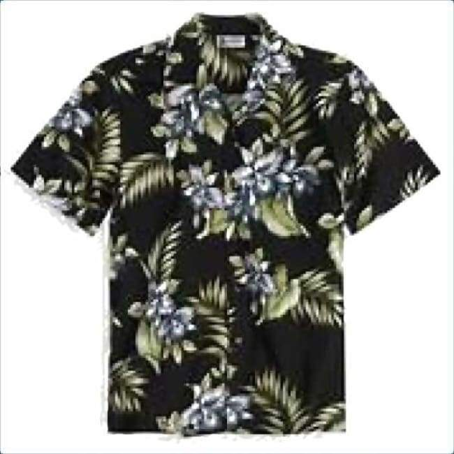 Hawaiian Shirt For Men Orchids Black Apparel $53.99