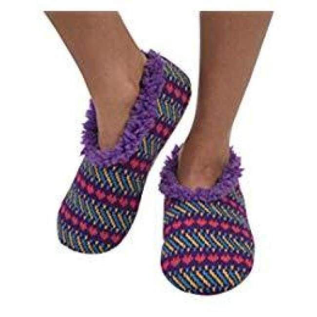 Jacquard Heart Purple Snoozies Slippers Foot Covering For Womens Footwear $14.99