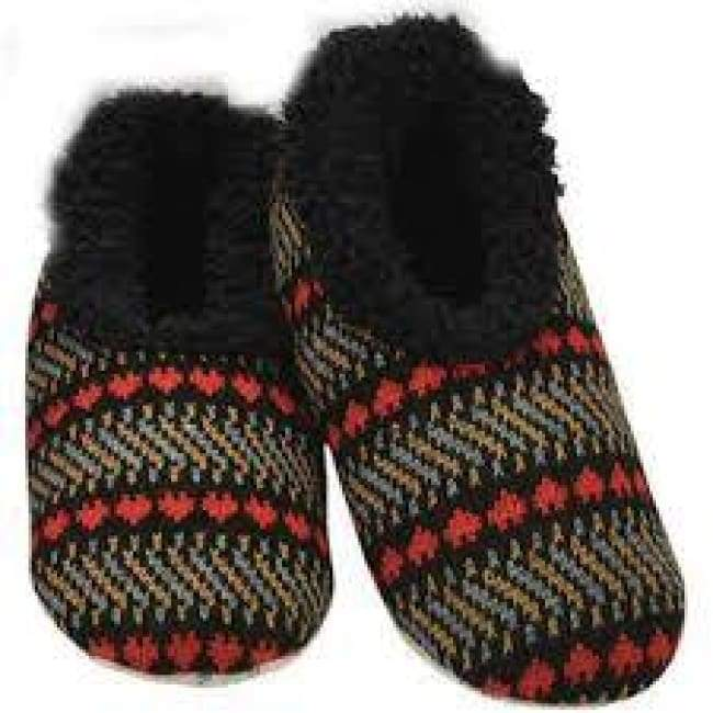 Jacquard Hearts Black Snoozies Slippers Foot Covering For Womens Footwear $14.99