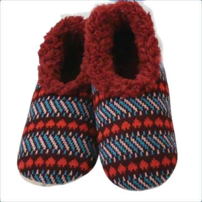Jacquard Hearts Maroon Snoozies Slippers Foot Covering For Womens Footwear $12.99
