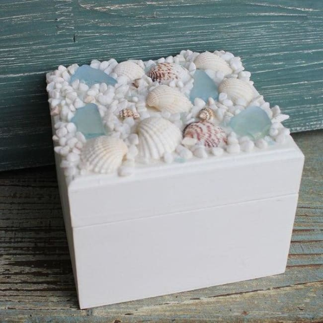 Large Square Box With Sea Glass Gifts $17.99