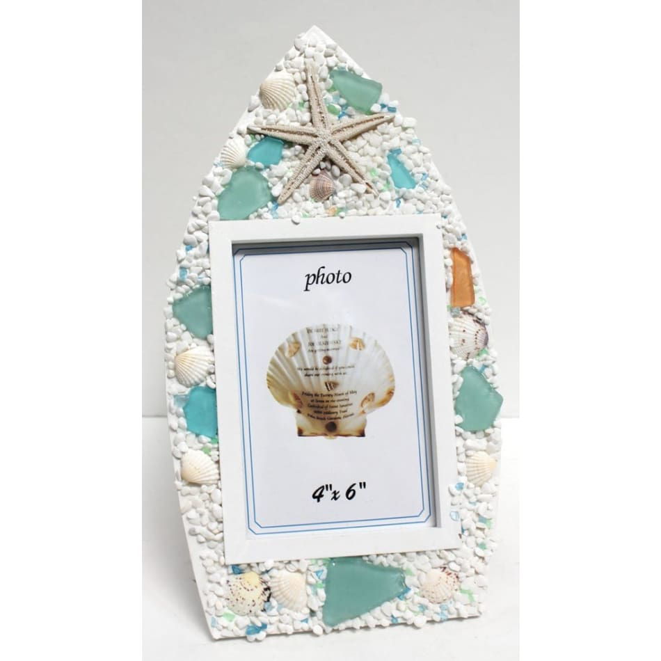 Picture Frame Boat Sea Glass 4 x 6 Home & Decor $19.99