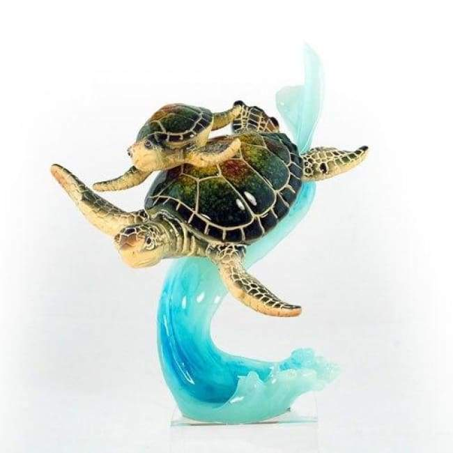 Resin Green Turtle Mom & Baby On Wave 8 Home Decor $48.99