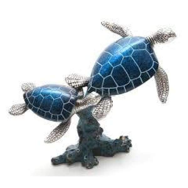 Resin Silver And Turquoise Turtle Mom & Baby On Coral Home Decor $49.99