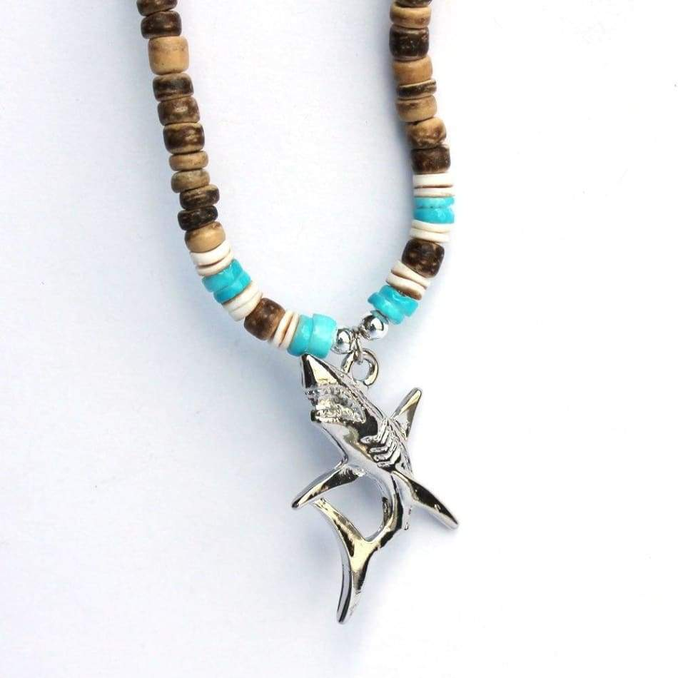 Shark Charm Brown Bead Necklace General Merchandise $5.99