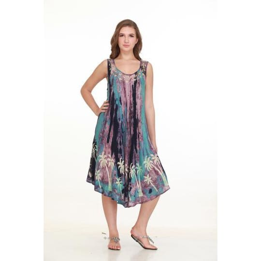 Short umbrella dress with palm trees plus size apparel $26.99
