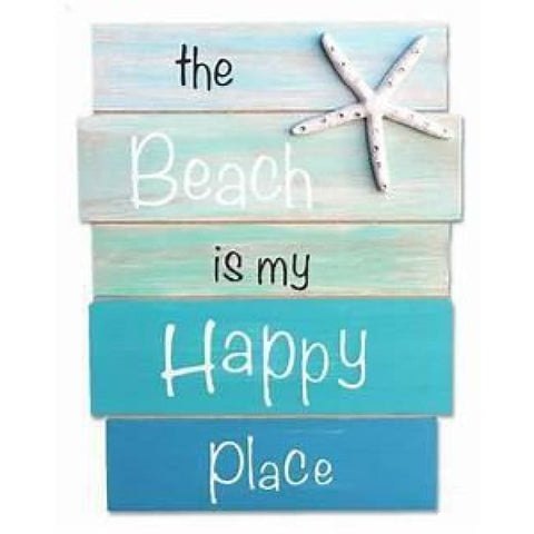 Sign Plank The Beach Is My Happy Place 12 Home & Decor $24.99