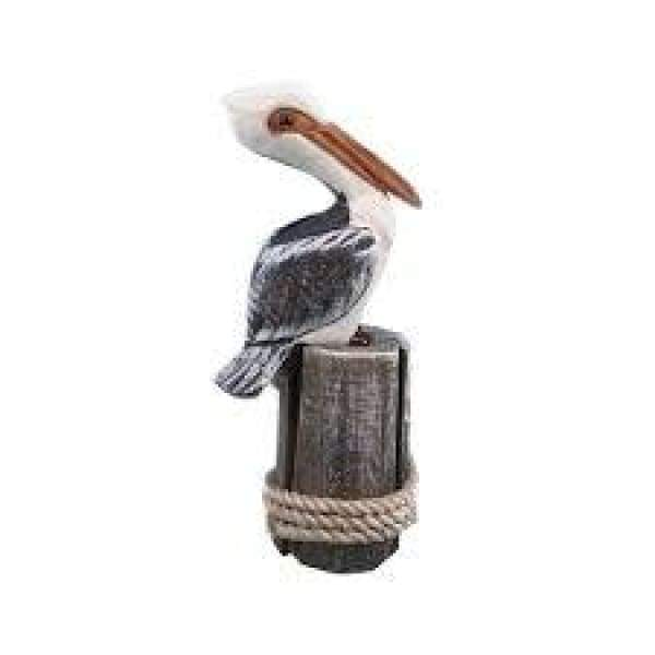 Small Wood Pelican On Post 9.25 H WW-32 Figurines $21.99