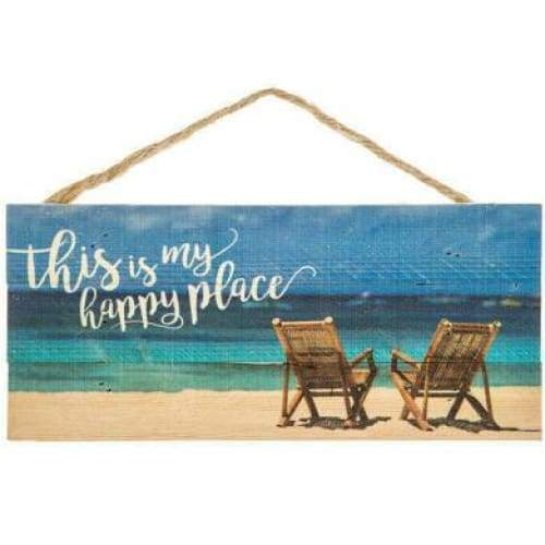 The Beach Is My Happy Place Wood Sign Home & Decor $12.99