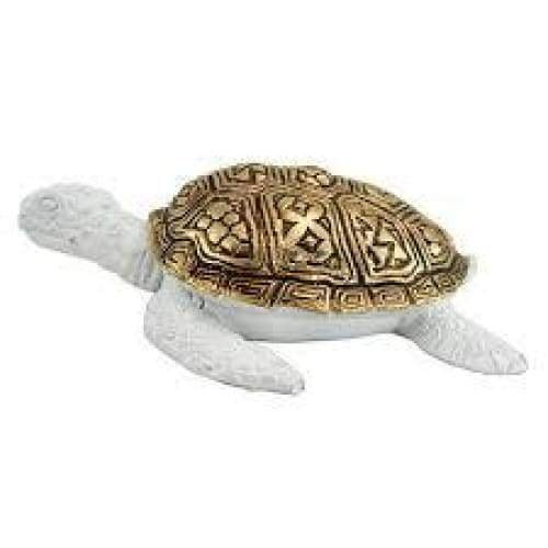 White Sea Turtle With Gold Shell Figurine 5.5 Home & Decor $12.99
