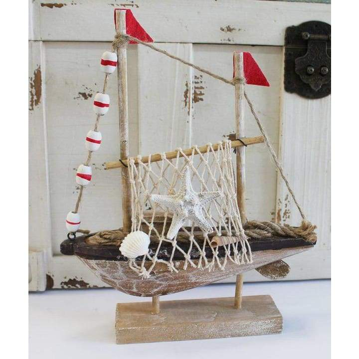 Wood Boat With Red Flags Home & Decor $19.99