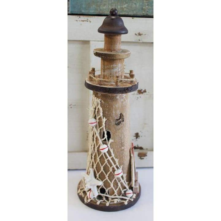 Wood Lighthouse Brown W/Boat & Net 12 Home Decor $21.99