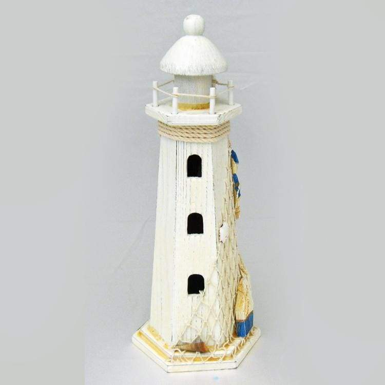 Wood Lighthouse White & Blue With Net Home Decor $29.99