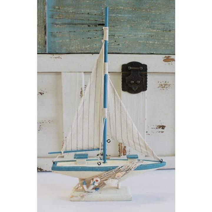 Wood Sailboat White And Blue 14 Home & Decor $14.99