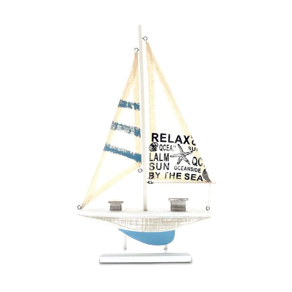 Wood Sailboat White And Blue 15 1/2 Home & Decor $21.99