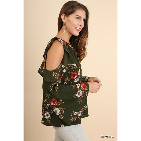 Bell Sleeve Floral V-Neck Top with Ruffled Open Shoulders