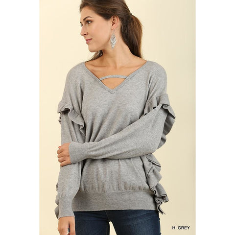 V-Neck Light Sweater with Ruffled Details