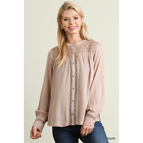 Button Up Blouse with Mandarin Collar and Lace Details on Bodice