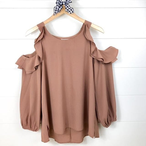 Puff Sleeve Top with Ruffled Open Shoulders