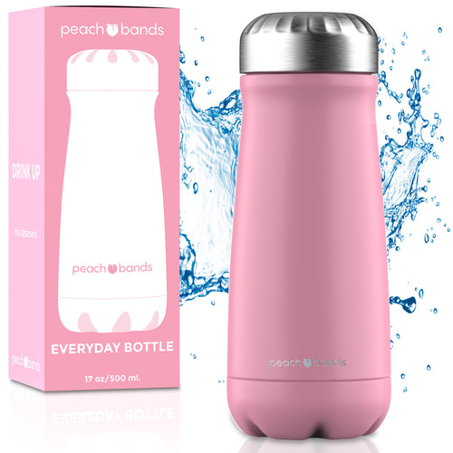 Everyday Bottle Peach Bands Fitness Canada Stainless Steel Water Bottle Pink