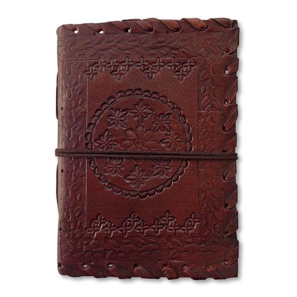 Vintage Leather Cover Journal Embossed Blank Diary Handmade Brown Notebook - BohoEntice