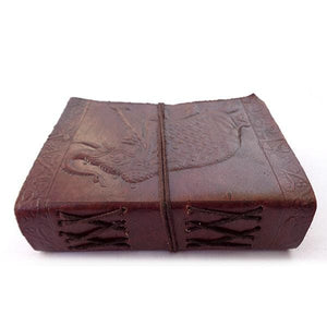 Vintage Leather Cover Journal Elephant Embossed Blank Diary Handmade Brown Notebook - BohoEntice