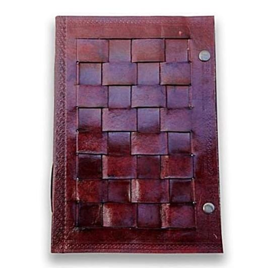 Vintage Leather Cover Journal Chess Pattern Blank Diary Handmade Brown Notebook - BohoEntice