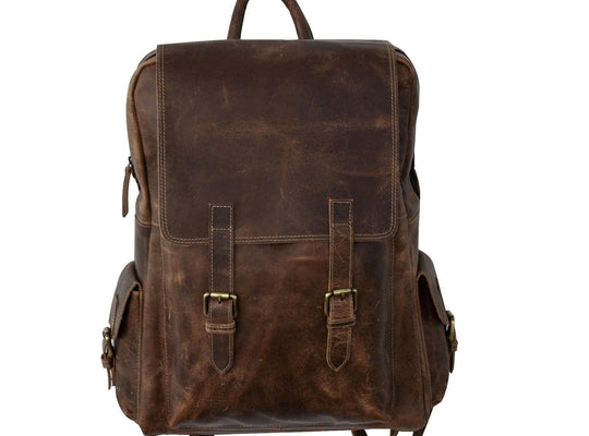 Jack Leather Brown Rucksack Backpack - BohoEntice