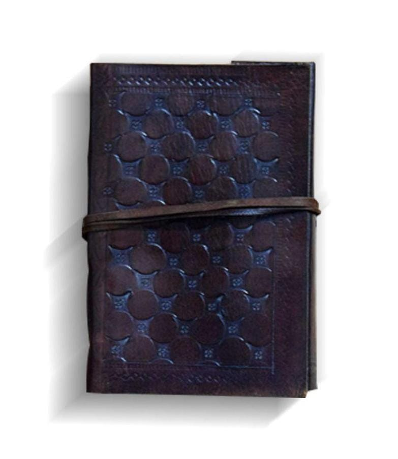 Embossed Leather Handmade Paper Travel Diary - BohoEntice