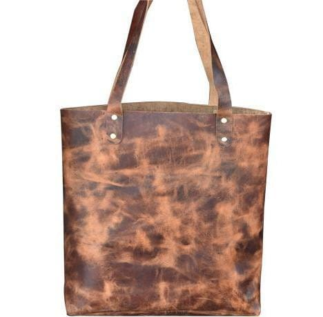 Brown buffalo Leather Tote Bag - BohoEntice