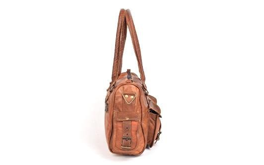 Brown Vintage Four Pocket Leather Tote Bag - BohoEntice