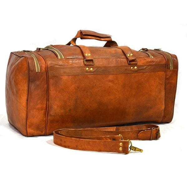 Vintage Rustic Brown Traveler Duffel Bag - BohoEntice