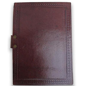 Vintage Leather Cover Journal Star Embossed Blank Diary Handmade Brown Notebook - BohoEntice