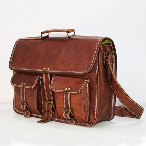 Two Pocket Crossbody Leather Satchel - BohoEntice