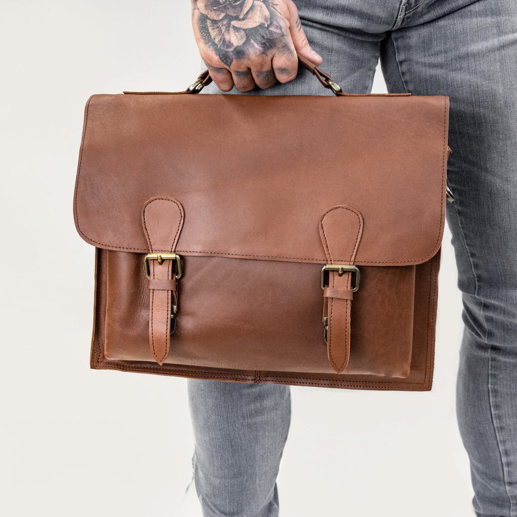 Brown Full Grain Leather Satchel - Messenger Bag - BohoEntice