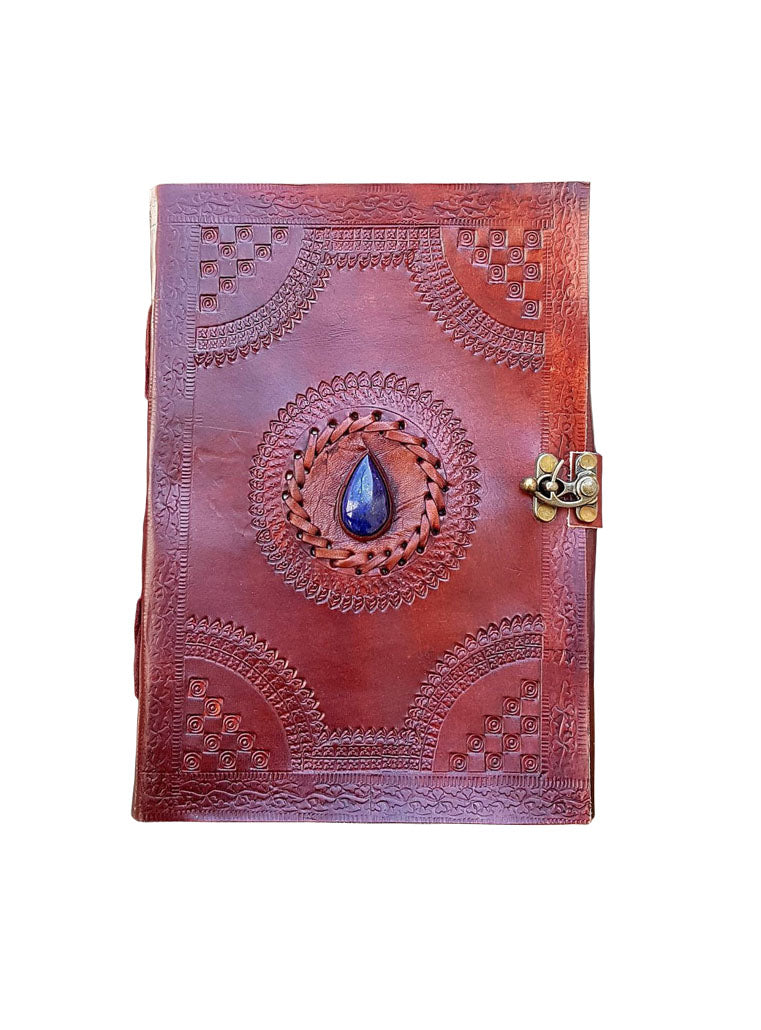 Brown Leather Stitching Stone Notebook Handmade Diary - BohoEntice