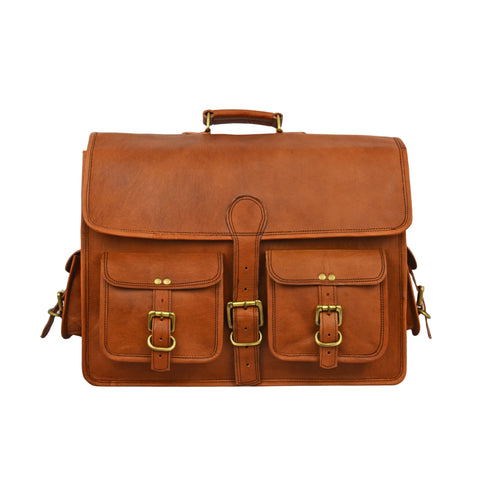 Mac Leather Briefcase Messenger Bag - BohoEntice