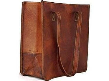 Brown Vintage Leather Tote Bag - BohoEntice