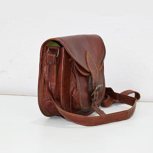 Retro Brown Sling Tote Leather Bag - BohoEntice