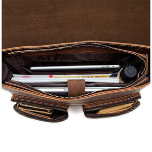 Dominick Leather Briefcase Laptop Messenger Bag - BohoEntice