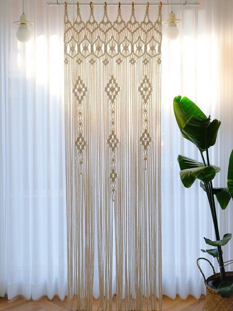 Macrame Curtains Shower Curtains Macrame Fabric Panels Curtains Door Window Curtain Doorway Curtain