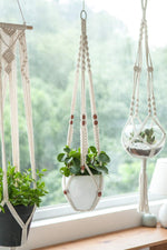 Macrame Cotton Plant Hanger | Rope Flower Pot Holder for Indoor Outdoor Balcony Garden Wall | Home Décor Decorative Interior Bohemian Basket Hanger Without Tassel